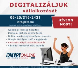 Digitalizaljuk vallalkozatas KTS Online weoldal készítés győr